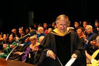 Virginia Tech President Charles Steger addresses graduates speech